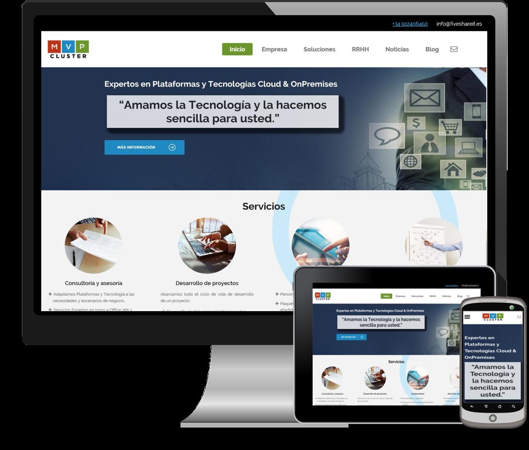 La nueva web tiene un nuevo diseño responsive que permite a los usuarios navegar con cualquier dispositivo o plataforma. Además, se le han incorporado nuevos contenidos claros y concisos no tecnológico de forma que nuestros clientes no tecnológicos conozcan claramente nuestros servicios de una manera fácil e intuitiva.